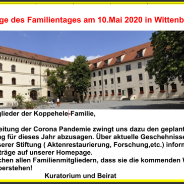 Absage des Stiftungstreffens 2020