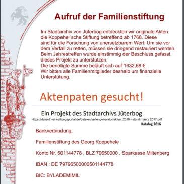 Spendenaufruf zur Rettung wertvoller, originaler Stiftungsdokumente aus dem 16. Jahrhundert