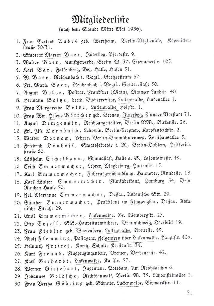 Mitgliederliste 1935