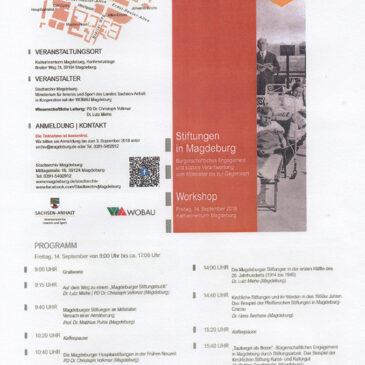 Workshop zu Stiftungen in Magdeburg vom 14.09.2018